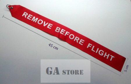 REMOVE BEFORE FLIGHT jelzőszalag légijárművekhez
