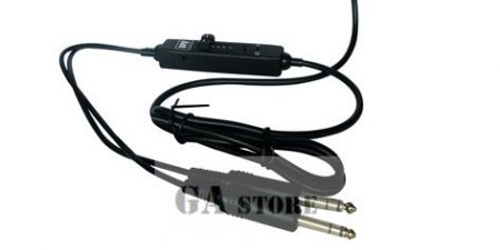 Aircraft Headphone Cable, Stereo - Volume Control + Audio Cable 3.5 Jack