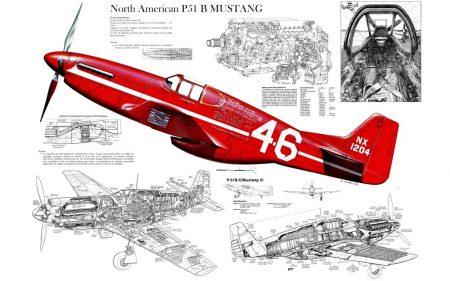 "Poszter B/1 ""P 51B MUSTANG Röntgen """